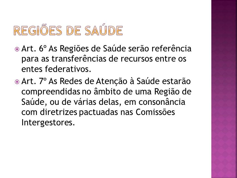  Art. 6º As Regiões de Saúde serão referência para as transferências de recursos entre os entes federativos.  Art. 7º As Redes de Atenção à Saúde es