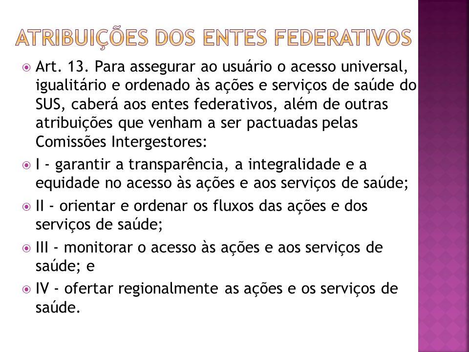  Art. 13. Para assegurar ao usuário o acesso universal, igualitário e ordenado às ações e serviços de saúde do SUS, caberá aos entes federativos, alé