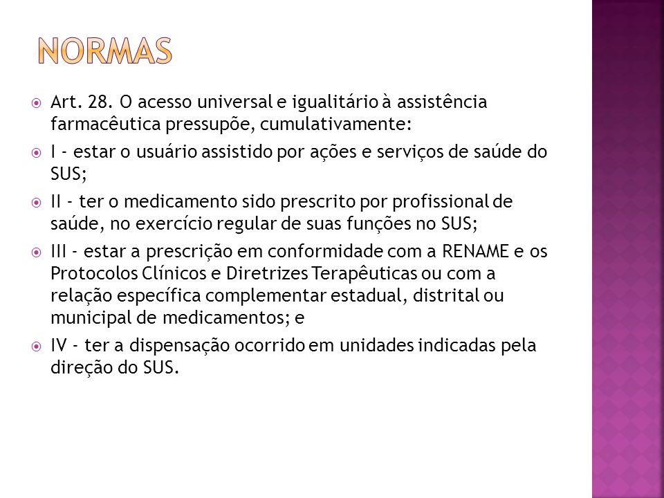  Art. 28. O acesso universal e igualitário à assistência farmacêutica pressupõe, cumulativamente:  I - estar o usuário assistido por ações e serviço