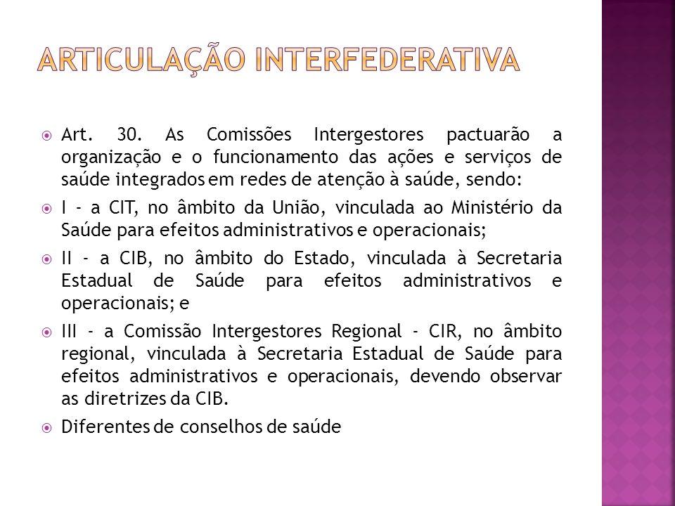  Art. 30. As Comissões Intergestores pactuarão a organização e o funcionamento das ações e serviços de saúde integrados em redes de atenção à saúde,