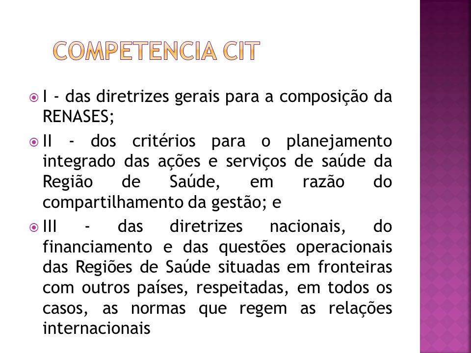  I - das diretrizes gerais para a composição da RENASES;  II - dos critérios para o planejamento integrado das ações e serviços de saúde da Região d