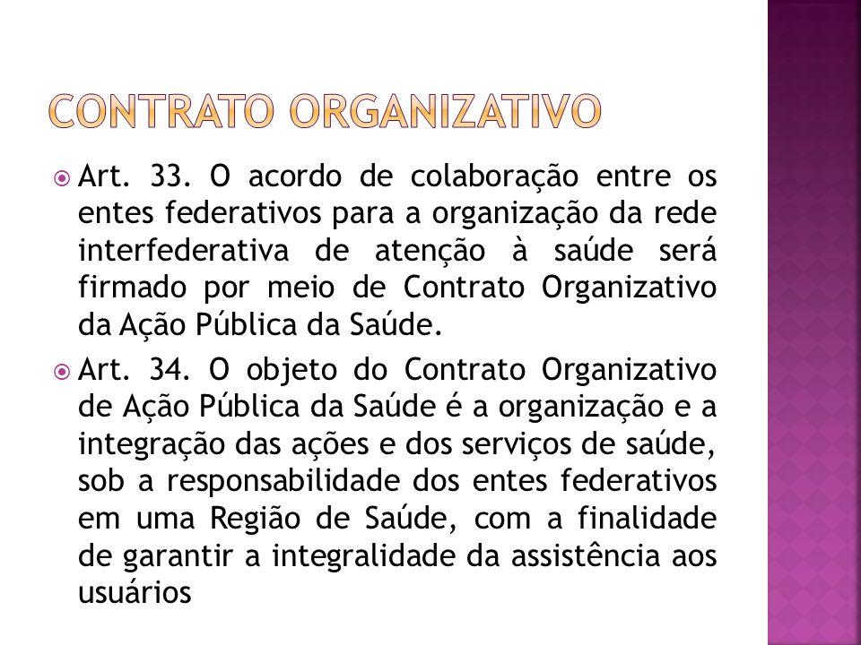  Art. 33. O acordo de colaboração entre os entes federativos para a organização da rede interfederativa de atenção à saúde será firmado por meio de C