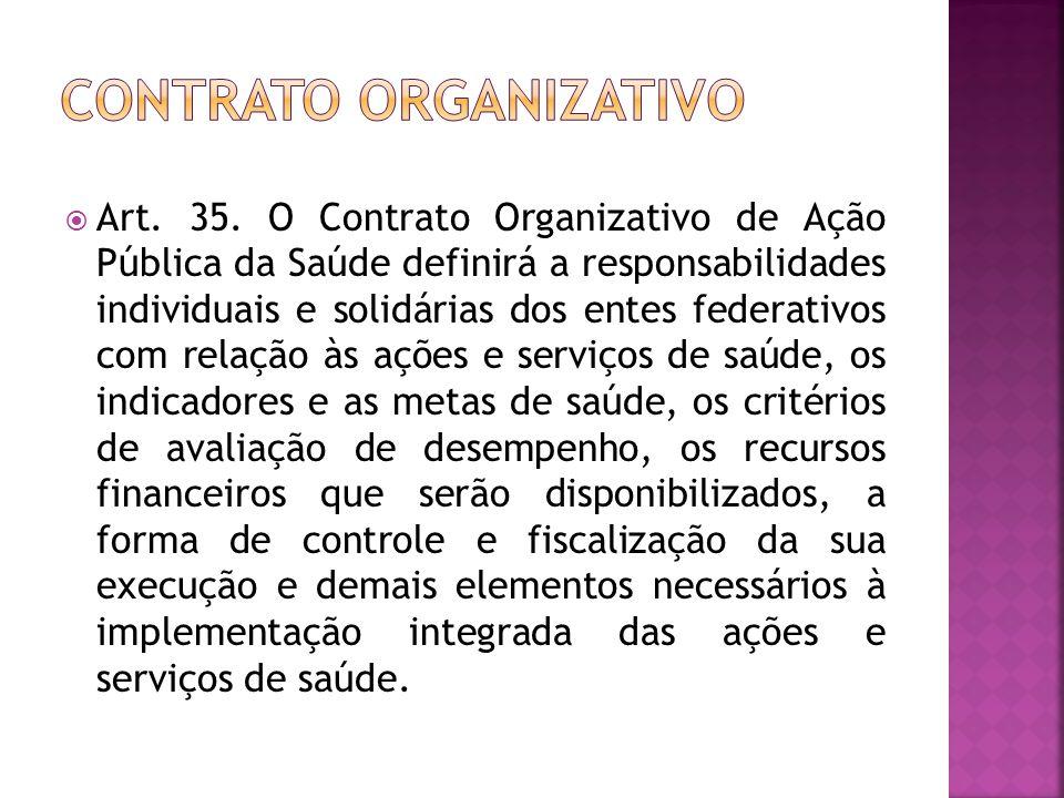  Art. 35. O Contrato Organizativo de Ação Pública da Saúde definirá a responsabilidades individuais e solidárias dos entes federativos com relação às