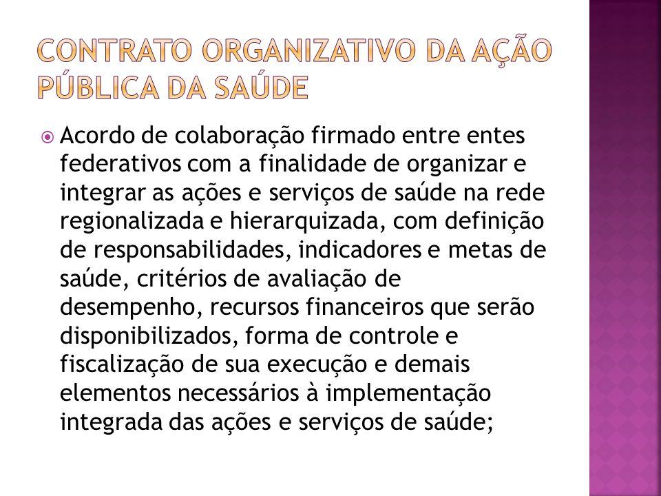  Acordo de colaboração firmado entre entes federativos com a finalidade de organizar e integrar as ações e serviços de saúde na rede regionalizada e