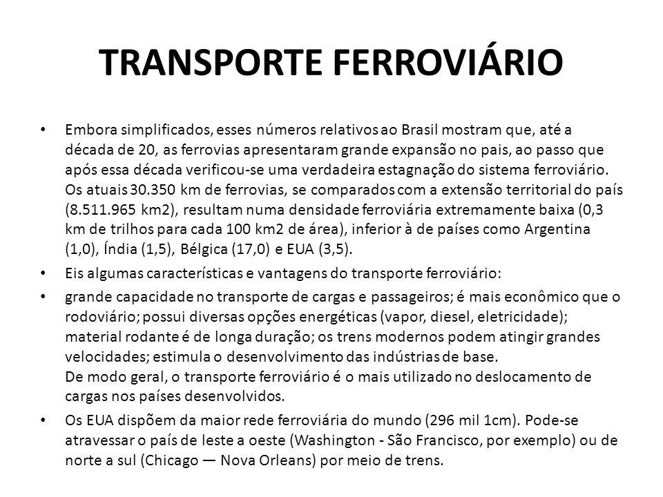 TRANSPORTE FERROVIÁRIO • Embora simplificados, esses números relativos ao Brasil mostram que, até a década de 20, as ferrovias apresentaram grande exp