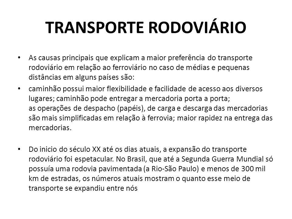TRANSPORTE RODOVIÁRIO • As causas principais que explicam a maior preferência do transporte rodoviário em relação ao ferroviário no caso de médias e p