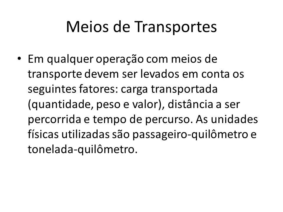 Meios de Transportes • Em qualquer operação com meios de transporte devem ser levados em conta os seguintes fatores: carga transportada (quantidade, p