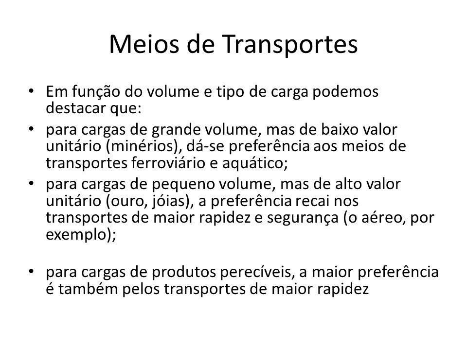 Meios de Transportes • Em função do volume e tipo de carga podemos destacar que: • para cargas de grande volume, mas de baixo valor unitário (minérios