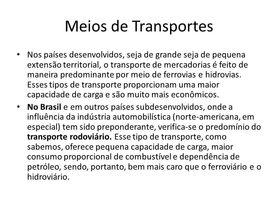 Meios de Transportes • Nos países desenvolvidos, seja de grande seja de pequena extensão territorial, o transporte de mercadorias é feito de maneira p