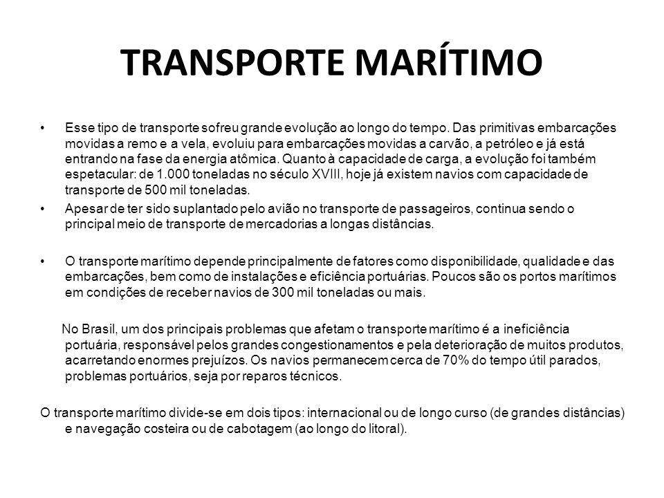 TRANSPORTE MARÍTIMO •Esse tipo de transporte sofreu grande evolução ao longo do tempo. Das primitivas embarcações movidas a remo e a vela, evoluiu par
