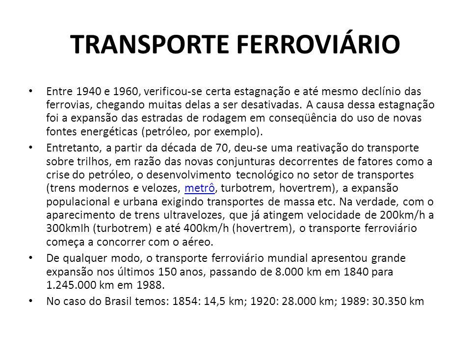 TRANSPORTE FERROVIÁRIO • Entre 1940 e 1960, verificou-se certa estagnação e até mesmo declínio das ferrovias, chegando muitas delas a ser desativadas.