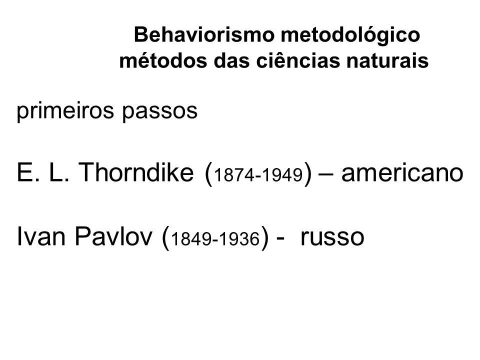 primeiros passos E. L. Thorndike ( 1874-1949 ) – americano Ivan Pavlov ( 1849-1936 ) - russo Behaviorismo metodológico métodos das ciências naturais