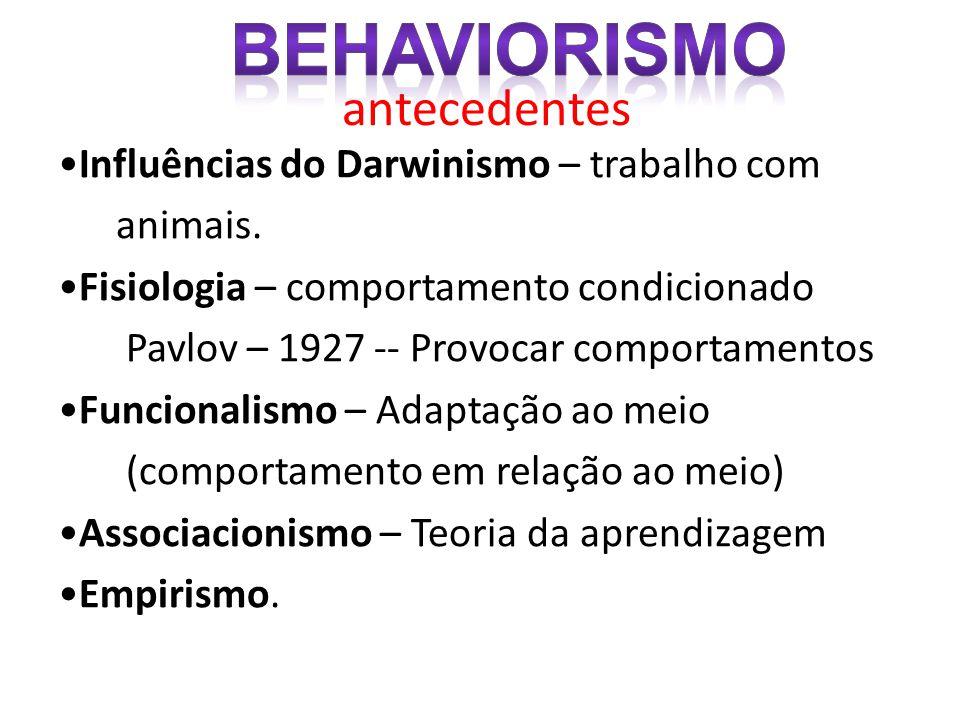 antecedentes •Influências do Darwinismo – trabalho com animais. •Fisiologia – comportamento condicionado Pavlov – 1927 -- Provocar comportamentos •Fun