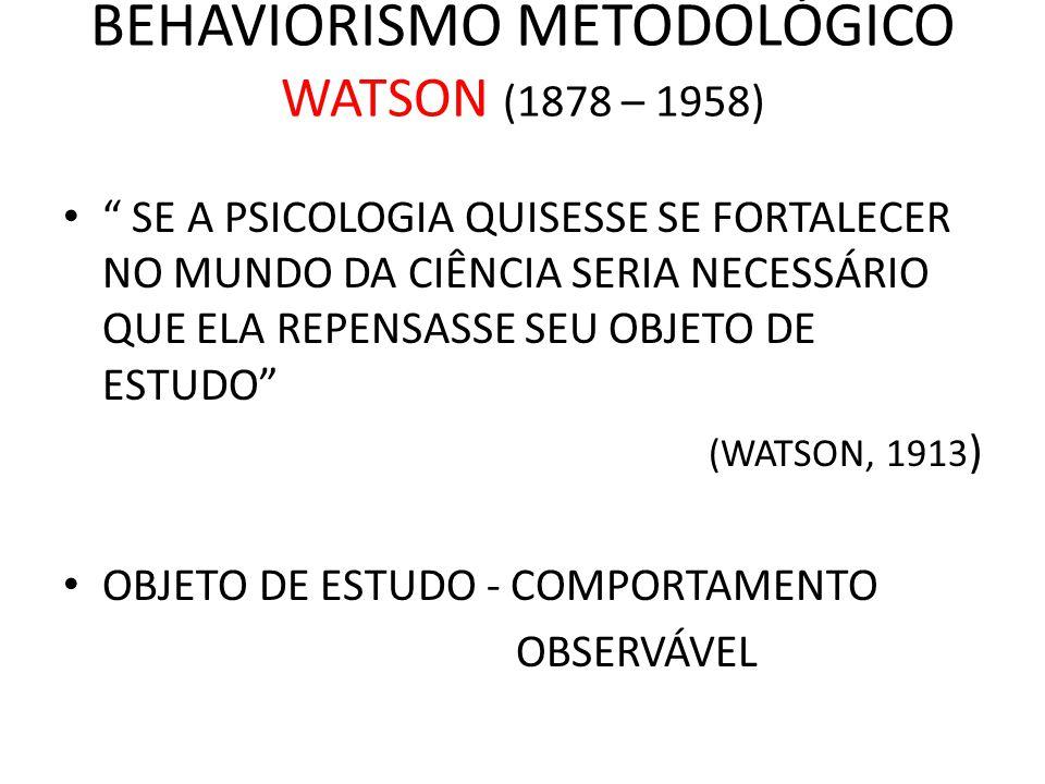 """BEHAVIORISMO METODOLÓGICO WATSON (1878 – 1958) • """" SE A PSICOLOGIA QUISESSE SE FORTALECER NO MUNDO DA CIÊNCIA SERIA NECESSÁRIO QUE ELA REPENSASSE SEU"""