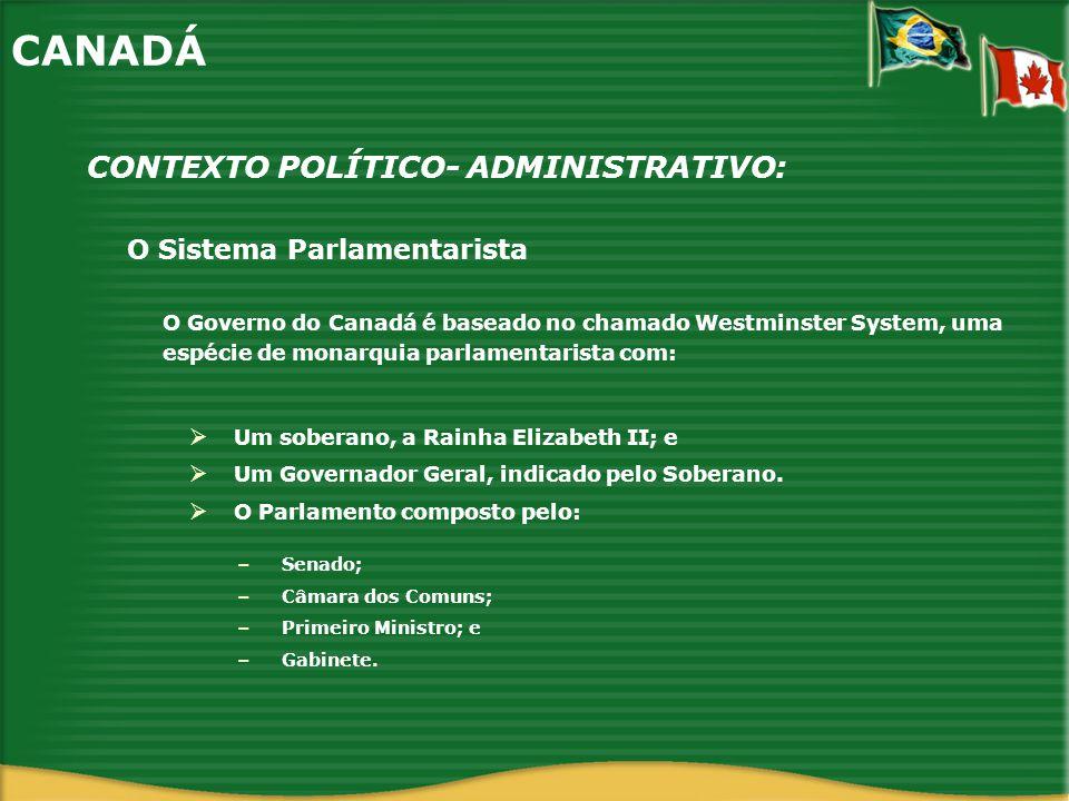 O Sistema Parlamentarista CONTEXTO POLÍTICO- ADMINISTRATIVO: CANADÁ O Governo do Canadá é baseado no chamado Westminster System, uma espécie de monarq