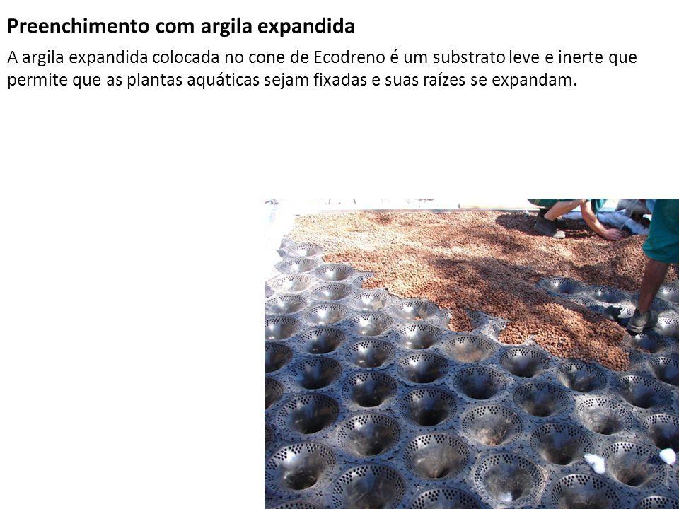 Preenchimento com argila expandida A argila expandida colocada no cone de Ecodreno é um substrato leve e inerte que permite que as plantas aquáticas s
