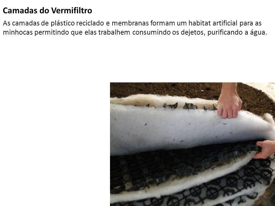 Camadas do Vermifiltro As camadas de plástico reciclado e membranas formam um habitat artificial para as minhocas permitindo que elas trabalhem consum