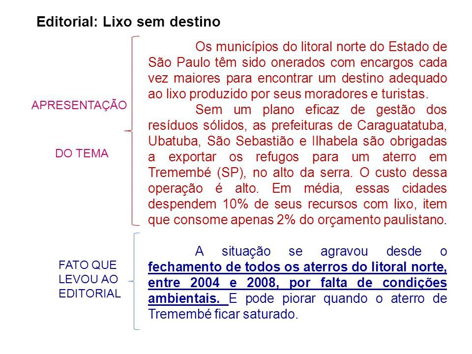 Os municípios do litoral norte do Estado de São Paulo têm sido onerados com encargos cada vez maiores para encontrar um destino adequado ao lixo produzido por seus moradores e turistas.