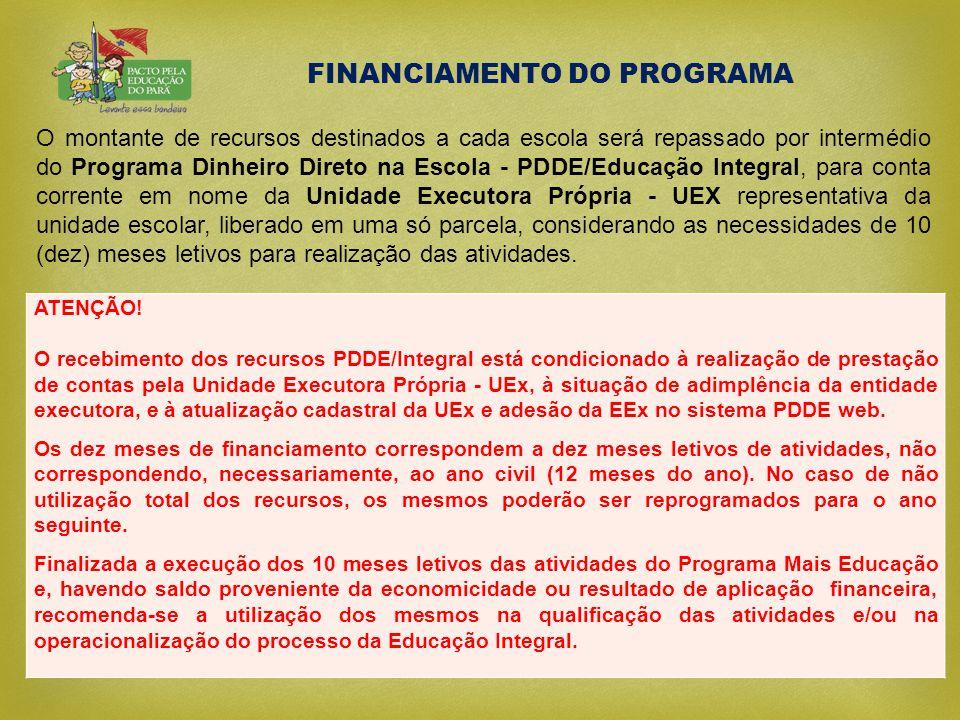 FINANCIAMENTO DO PROGRAMA O montante de recursos destinados a cada escola será repassado por intermédio do Programa Dinheiro Direto na Escola - PDDE/E
