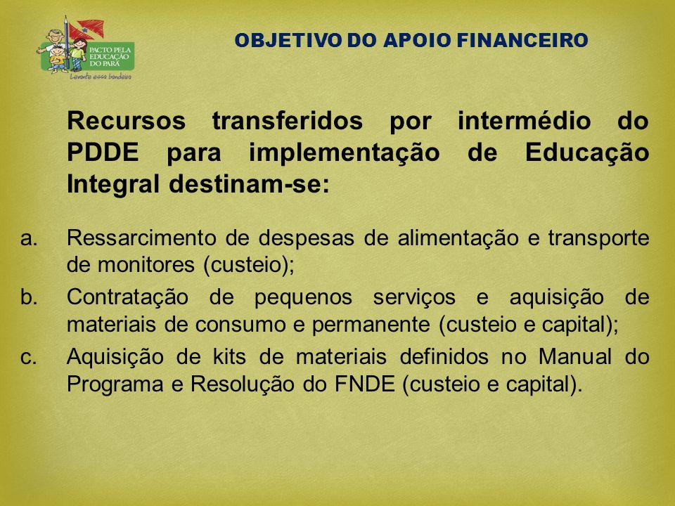 OBJETIVO DO APOIO FINANCEIRO Recursos transferidos por intermédio do PDDE para implementação de Educação Integral destinam-se: a.Ressarcimento de desp