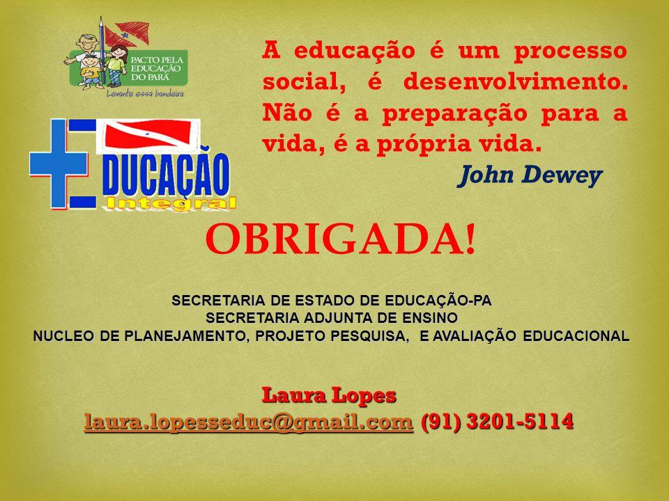 A educação é um processo social, é desenvolvimento. Não é a preparação para a vida, é a própria vida. John Dewey OBRIGADA! Laura Lopes laura.lopessedu