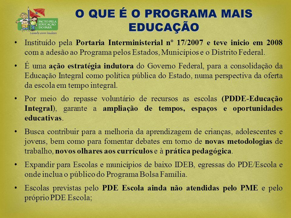 O QUE É O PROGRAMA MAIS EDUCAÇÃO • Instituído pela Portaria Interministerial nº 17/2007 e teve inicio em 2008 com a adesão ao Programa pelos Estados,