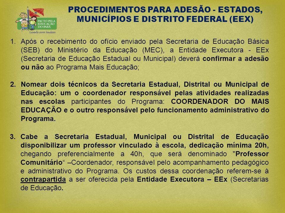 PROCEDIMENTOS PARA ADESÃO - ESTADOS, MUNICÍPIOS E DISTRITO FEDERAL (EEX) 1.Após o recebimento do ofício enviado pela Secretaria de Educação Básica (SE