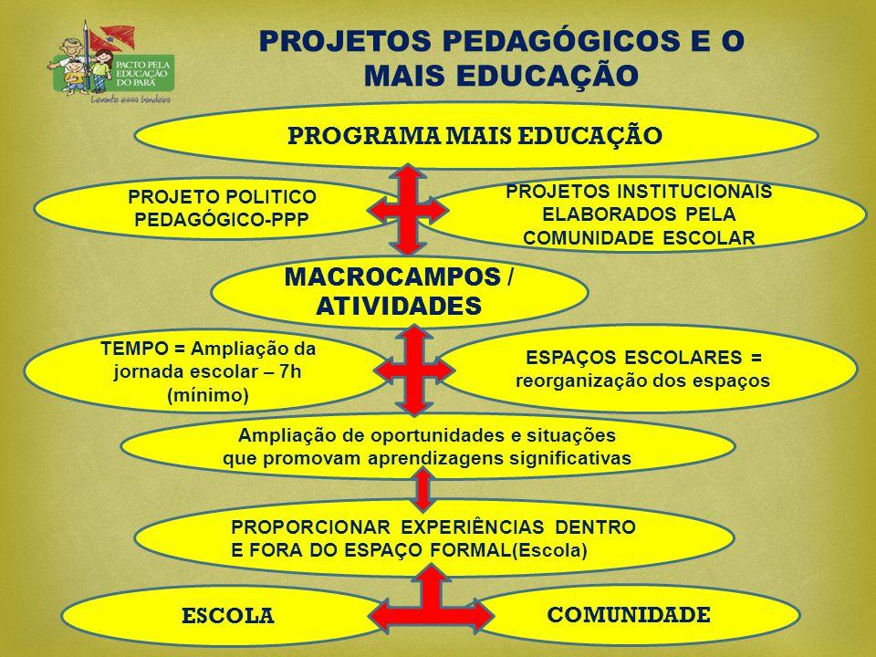 PROJETOS PEDAGÓGICOS E O MAIS EDUCAÇÃO PROJETO POLITICO PEDAGÓGICO-PPP COMUNIDADE PROPORCIONAR EXPERIÊNCIAS DENTRO E FORA DO ESPAÇO FORMAL(Escola) PRO
