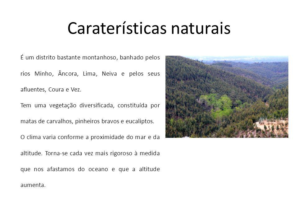 Caraterísticas naturais É um distrito bastante montanhoso, banhado pelos rios Minho, Âncora, Lima, Neiva e pelos seus afluentes, Coura e Vez. Tem uma