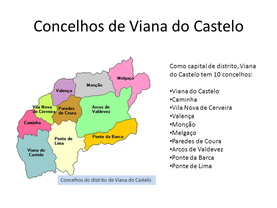 Concelhos de Viana do Castelo Como capital de distrito, Viana do Castelo tem 10 concelhos: • Viana do Castelo • Caminha • Vila Nova de Cerveira • Vale