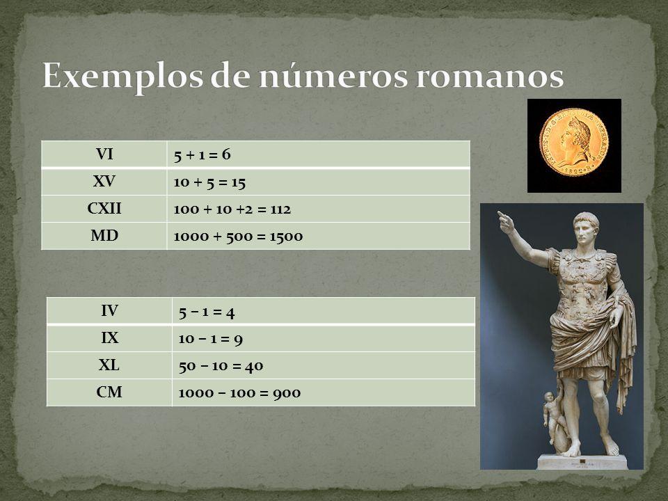 VI5 + 1 = 6 XV10 + 5 = 15 CXII100 + 10 +2 = 112 MD1000 + 500 = 1500 IV5 – 1 = 4 IX10 – 1 = 9 XL50 – 10 = 40 CM1000 – 100 = 900