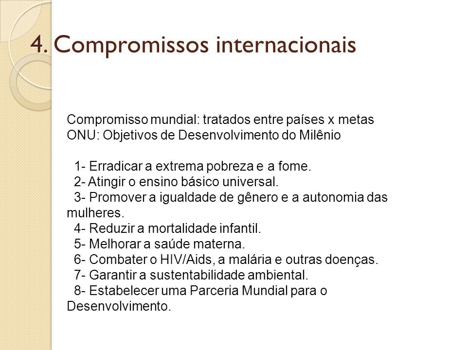 4. Compromissos internacionais Compromisso mundial: tratados entre países x metas ONU: Objetivos de Desenvolvimento do Milênio 1- Erradicar a extrema