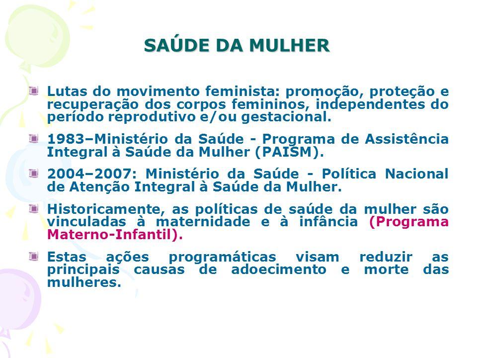SAÚDE DA MULHER Lutas do movimento feminista: promoção, proteção e recuperação dos corpos femininos, independentes do período reprodutivo e/ou gestacional.