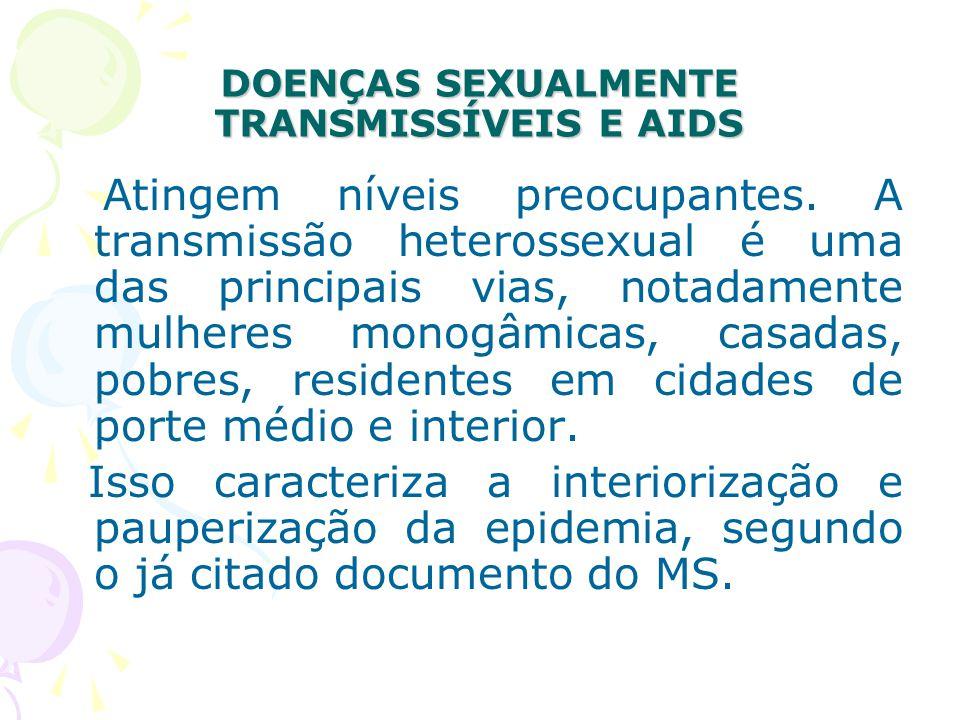 DOENÇAS SEXUALMENTE TRANSMISSÍVEIS E AIDS Atingem níveis preocupantes.