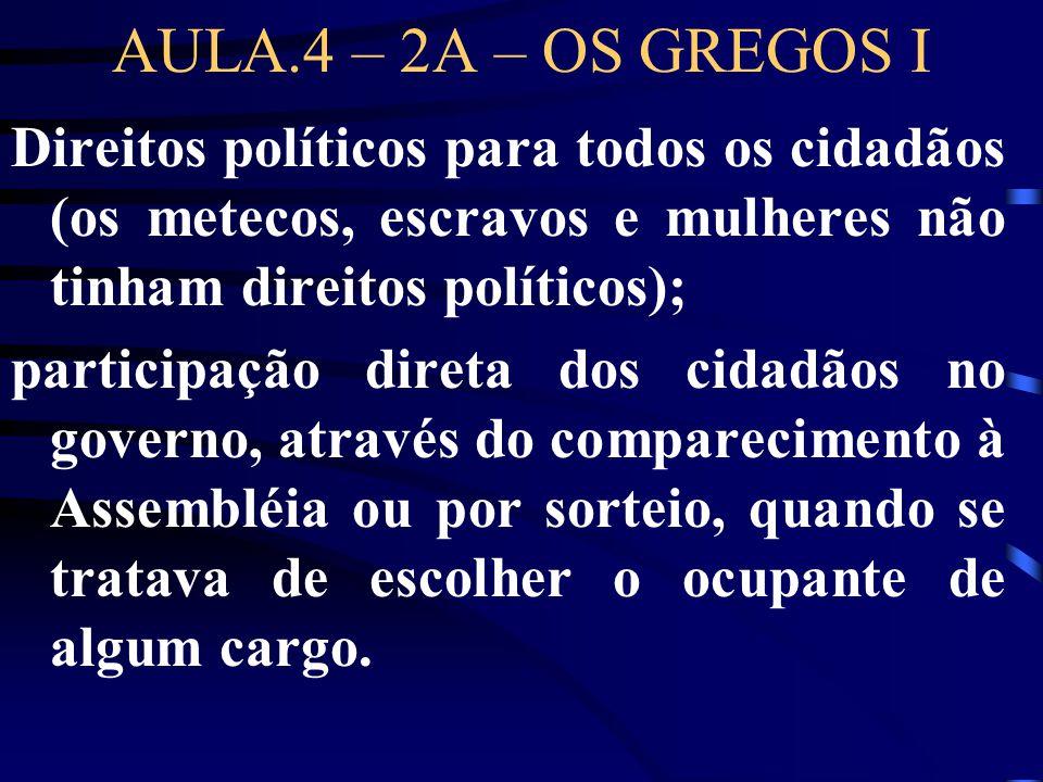 AULA.4 – 2A – OS GREGOS I Direitos políticos para todos os cidadãos (os metecos, escravos e mulheres não tinham direitos políticos); participação dire
