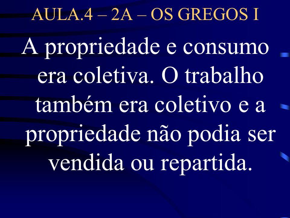 AULA.4 – 2A – OS GREGOS I A propriedade e consumo era coletiva. O trabalho também era coletivo e a propriedade não podia ser vendida ou repartida.