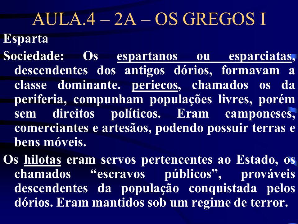 AULA.4 – 2A – OS GREGOS I Esparta Sociedade: Os espartanos ou esparciatas, descendentes dos antigos dórios, formavam a classe dominante. periecos, cha