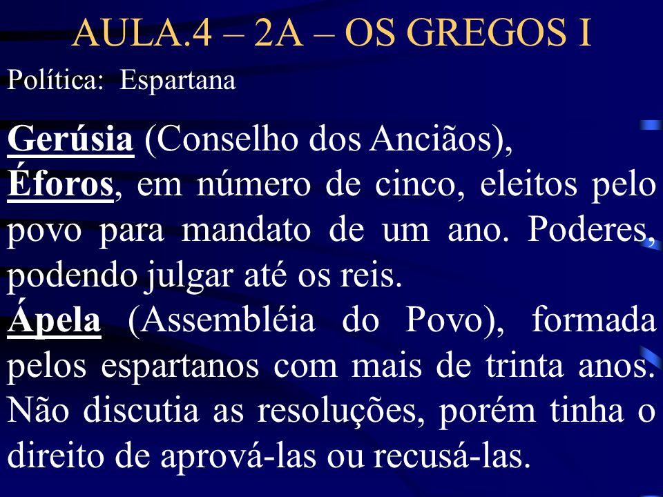 AULA.4 – 2A – OS GREGOS I Política: Espartana Gerúsia (Conselho dos Anciãos), Éforos, em número de cinco, eleitos pelo povo para mandato de um ano. Po