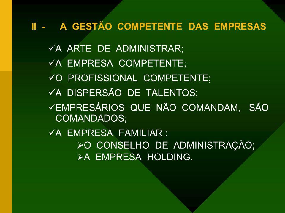 II -A GESTÃO COMPETENTE DAS EMPRESAS AA ARTE DE ADMINISTRAR; AA EMPRESA COMPETENTE; OO PROFISSIONAL COMPETENTE; AA DISPERSÃO DE TALENTOS; EE