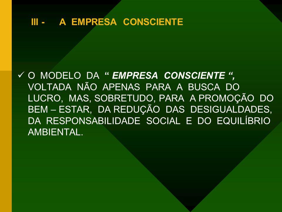 """III -A EMPRESA CONSCIENTE OO MODELO DA """" EMPRESA CONSCIENTE """", VOLTADA NÃO APENAS PARA A BUSCA DO LUCRO, MAS, SOBRETUDO, PARA A PROMOÇÃO DO BEM – ES"""