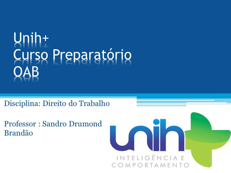 Disciplina: Direito do Trabalho Professor : Sandro Drumond Brandão