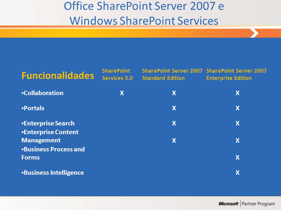 Collaboration Portal Search Content Management Business Processes Business Intelligence Office SharePoint Server 2007 Windows SharePoint Services Next