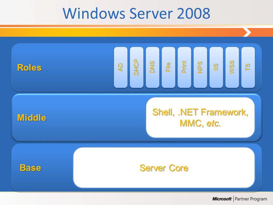 Windows Server 2008 • O Windows Server 2008 é uma base sólida para todos os tipos de carga e aplicações sendo no entanto fácil de instalar e de gerir.