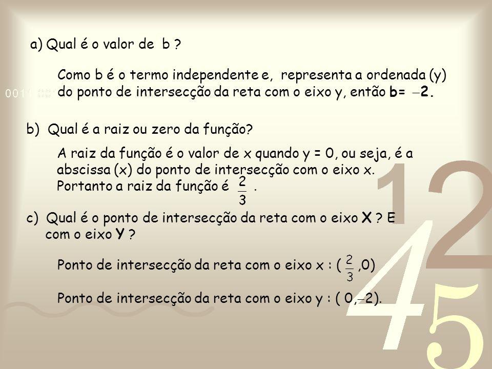 a) Qual é o valor de b ? Como b é o termo independente e, representa a ordenada (y) do ponto de intersecção da reta com o eixo y, então b=  2. b) Qua