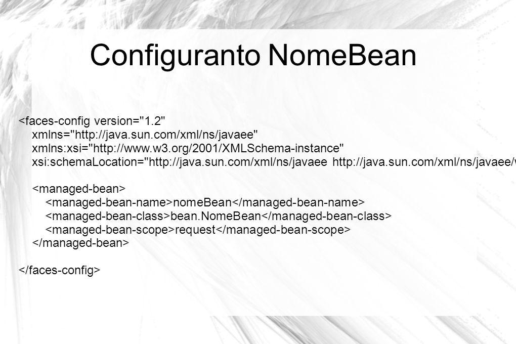 Configuranto NomeBean <faces-config version=