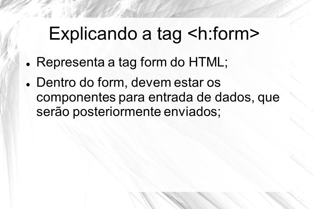 Explicando a tag  Representa a tag form do HTML;  Dentro do form, devem estar os componentes para entrada de dados, que serão posteriormente enviado