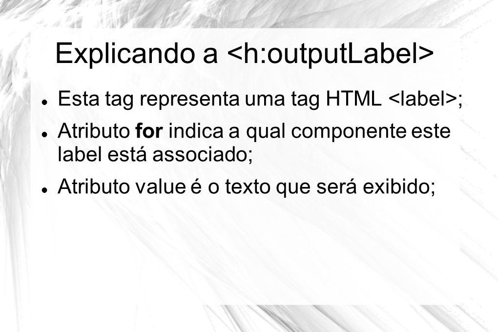 Explicando a  Esta tag representa uma tag HTML ;  Atributo for indica a qual componente este label está associado;  Atributo value é o texto que se