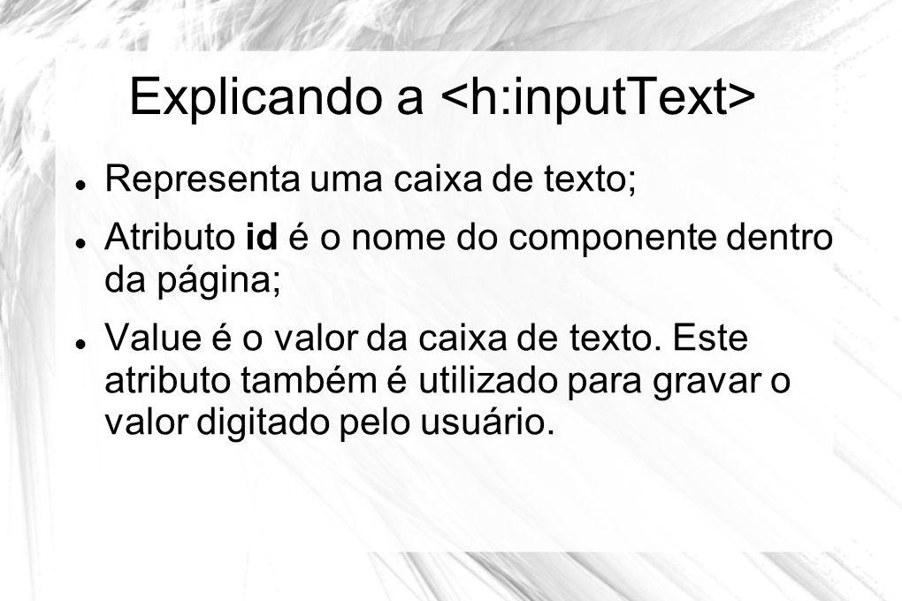 Explicando a  Representa uma caixa de texto;  Atributo id é o nome do componente dentro da página;  Value é o valor da caixa de texto. Este atribut