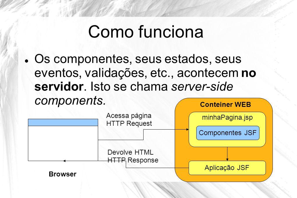 Como funciona  Os componentes, seus estados, seus eventos, validações, etc., acontecem no servidor. Isto se chama server-side components. Browser min
