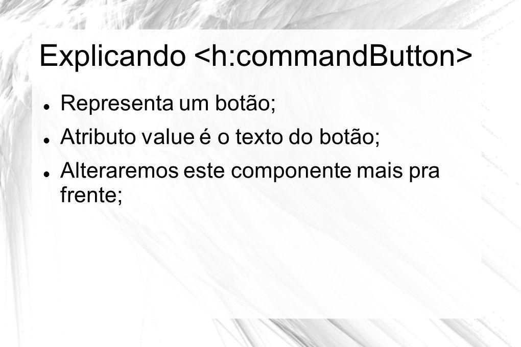 Explicando  Representa um botão;  Atributo value é o texto do botão;  Alteraremos este componente mais pra frente;